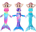 3-PC TOP  BOTTOM  TAIL Childrens Girls Mermaid Tail Scale Bathing Swimsuit