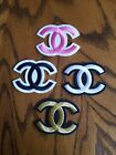 New Fashion Embroidery Iron On Badge Chanel Patch CC Logo Pink White Black Gold