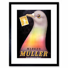 Advert Muller Stamp Shop Pigeon Basel Switzerland Post Framed Wall Art Print