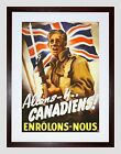 Propaganda War WWII Canada French Soldier Union Flag Framed Wall Art Print