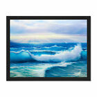 Morning+Rays+On+Breaking+Waves+Framed+Wall+Art+Print+18X24+In