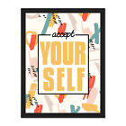 Funky+Affirmation+Accept+Yourself+Framed+Wall+Art+Print+18X24+In