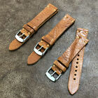 Size 18/20/22mm Handmade L-Brown Soft Buffalo Leather Watch Strap Band #110A image