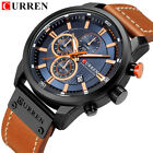 CURREN Military Mens Sport Leather Watch Business Casual Date Quartz Wrist Watch image