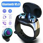 TWS Bluetooth 5.0 HIFI Stereo Headset Earphone Earbuds + Wristband Charging Case