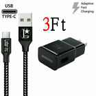 OEM Samsung Galaxy Note8 S8 S9 S10 Plus Fast Wall Charger 3/6/10FT Type-C Cable