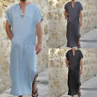 Kyпить US Mens Short Sleeve Arab Kaftan Kurta Shirt Long Thobe Gown Dishdasha Arab Robe на еВаy.соm