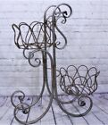 "25"" Wrought Iron Tulip Plant Stand Metal Flower Basket"