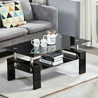 Coffer Table 2 Layer Glass Top & Stainless Steel Living Room B/W Colour UK Stock