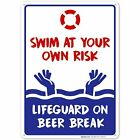 Swim At Your Own Risk Pool Sign - Pool Rules $10.99 USD on eBay