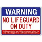 Swimming Pool Sign  No Lifeguard on Duty $12.99 USD on eBay