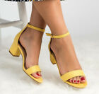 Womens Ankle Strap Sandals Ladies Summer Peep Toe Block Mid Low Heel Shoes Size