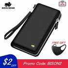 BISON DENIM Brand Genuine Leather Wallet RFID Blocking Clutch Bag Wallet Card Ho