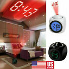 Digital Projection Alarm Clock With LCD Display Voice Talking LED Projector USA