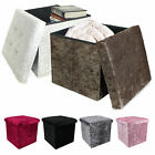 'Crushed Velvet Bedroom Ottoman Foot Stool Cube Storage Box Seat Bin Bed Rest