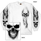 GHOST Skull T-Shirt LONG SLEEVE Motorcycle Chopper Sport Bike Biker L/S WHITE image