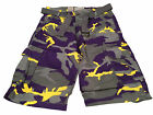 Men's Belted Cotton Military Army Twill Camo Utility Pocket Cargo Shorts
