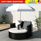 Patio Sofa Set Rattan Furniture Outdoor Wicker Garden Lounger Daybed W/parasol