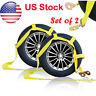 Car Dolly Flat Bed Car Tie Down Kit Wheel Tire Basket Strap Set (2) Auto Straps