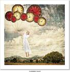 Woman Tied To Clocks Floating Art/Canvas Print. Poster, Wall Art, Home Decor
