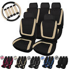 Universal Car Seat Covers Full Set for Auto w/Steering Wheel/Belt Pad/5Headrest