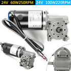 24V DC Right Angle Electric Worm Gear Motor Door Gear Motor w/ Encoder Brushed