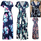 Women's Floral Boho Maxi Long Dress V Neck Evening Party Beach Casual Sundress