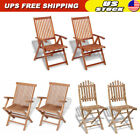 2x Folding Garden Chairs With Armrest Solid Teak Wood Outdoor Patio Bistro Seat