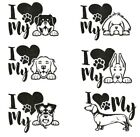1 x I Love my Dog Car/Mirror/File Glitter Decal Stickers 6 Designs Available