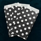 Black Small Paper Treat Bags 3x5 Polka Dots Flat Food Retail Party Favors