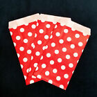 Red Small Paper Treat Bags 3x5 Polka Dots Flat Food Retail Cute Party Favors
