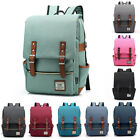Kyпить Canvas Leather Travel Backpack Rucksack Laptop School Bag for Girl Women Men на еВаy.соm