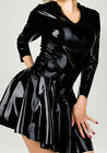 100%Pure Latex Rubber Black Long sleeve round neck Pleated dress 0.4mm Zip S-XXL