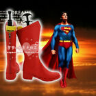 Any Size Man's Superman Cosplay Red Leather Boots Customized Halloween Shoes