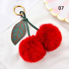 Faux Fur Pom-pom Ball Key Chain Fluffy Cherry Keyring Handbag Pendant Gift US