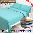 4/6 Piece Bed Sheet Set Deep Pocket Sheets Queen King Full Size Bed Fitted Sheet image