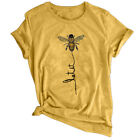 Summer Women Letter Printed Tops Let It Bee Printed Casual Graphic Tee T-shirt