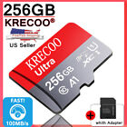New KRECOO 256GB Micro Memory Card 100MB/S 4K Class10 Flash TF Card with Adapter