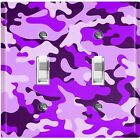 Metal Light Switch Cover Wall Plate Camouflage Purple Pattern