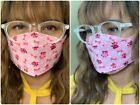 Pink Purple Face Mask Cotton Fabric Elastics, Siri's Masks for Glasses Wearers