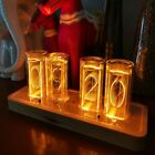 Glow LED Digital Solid Wood Tube Clock Adjustable Brightness Amber Color