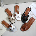 Chic Comfort Slide Slippers Leather Square Toe Sandals Beach Pool Women Shoes