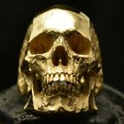 18 kt. gold Skull ring Mid size full jaw silver mens skull biker masonic