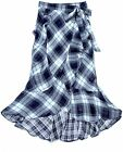 Plaid Maxi-Wrap Skirt Wrap Ruffled in Indigo Blue