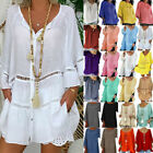 Plus Size Womens Summer Loose Tunic Blouse T-Shirt Casual Solid Shirts Tops Tee