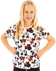 Disney Mickey And Minnie Mouse Girl's T-Shirt Cute Black White & Red Bow Top