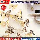 24pcs 3d Butterfly Wall Gold Stickers Art Decals Home Room Decorations Decor Usa