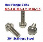 M6-1.0 M8-1.25 M10-1.5 Flange Bolt Serrated Hex Flange Bolts 304 Stainless Steel