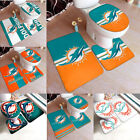 Miami Dolphins Bathroom Set Toilet Seat Cover Mat Non-slip Rug Bathroom Decor