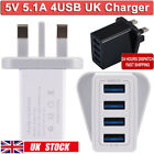 4 Multi-Port Fast Quick Charge USB Hub Mains Wall Charger UK Plug Adapter Phones